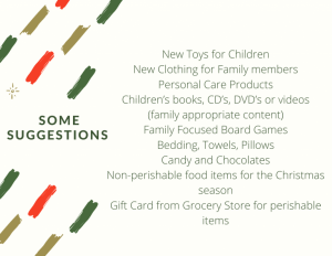 Adopt a family gift suggestions